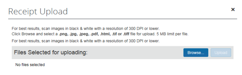 Error message in Concur regarding image size too large