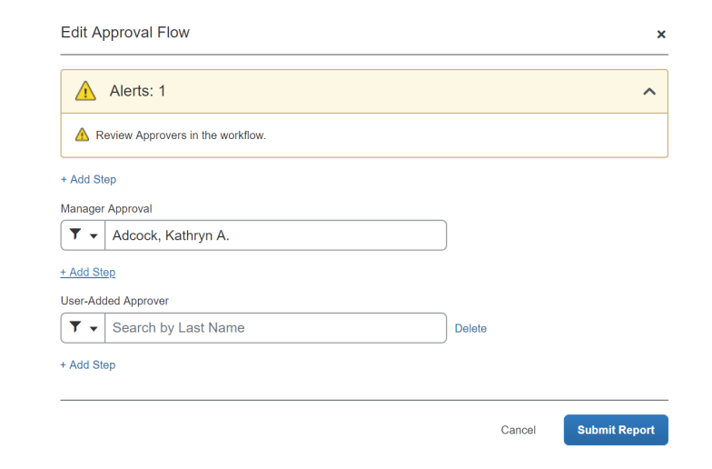 Edit approval flow screen options