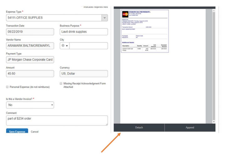 auto receipt in expense report example